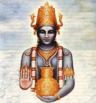Dhanvantari, an avatar of Vishnu. The physician of the gods (devas), and the god of Ayurvedic medicine.