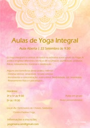 Portugal: Aula aberta de Yoga Integral | 22 Setembro 2016 às 9h30