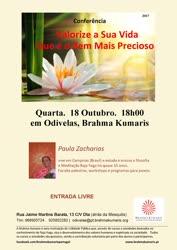 Portugal: Conferência: Valorize a Sua Vida Que é o Bem Mais Precioso – com Paula Zacharias – Brahma Kumaris – Odivelas