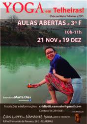 Portugal: Yoga Telheiras – Ciclo de AULAS ABERTAS com MARTA DIAS – 21 Nov a 19 Dez 2017