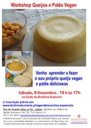 Portugal: Workshop Queijos e Patês Vegan – na Brahma Kumaris – em Lisboa