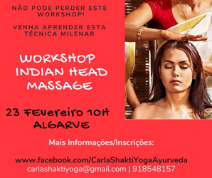 Portugal: WORKSHOP DE AYURVEDA – Indian Head Massage – c/ Carla Shakti – Algarve