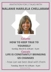 Portugal: Convite para 2 palestras com Nalanie Harilela Chellaram – Colares e Cascais – 8 e 10 de março de 2020