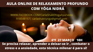 Portugal – Online: Aula Online Relaxamento Profundo com Yoga Nidrá – c/ Carla Shakti