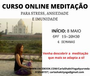 Portugal: CURSO ONLINE de MEDITAÇÃO para Gestão de Stress, Ansiedade e Imunidade c/ Carla Shakti